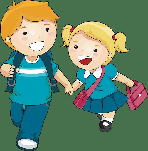 Kumpel - chłopak prowadzi znajomą do szkoły